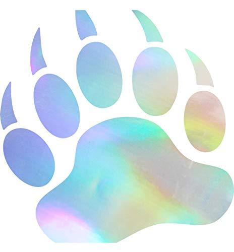 Animal Grizzly Bear Paw Print (HOLOGRAM) (set of 2) Premium Waterproof Vinyl Decal Stickers for Laptop Phone Accessory Helmet Car Window Bumper Mug Tuber Cup Door Wall Decoration