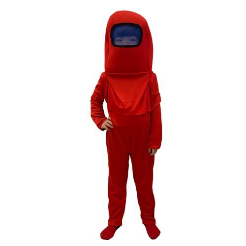 Vagbalena Traje de Astronauta para niños, Mono, Mochila, Juego de Cosplay, Disfraz de Halloween para niños, niños, niñas, de 4-9 A-mong, Mono (Red,M)