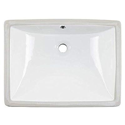 Friho 18.5''x13.8''x7.9'' Modern Sleek Rectangular Undermount Vanity Sink Porcelain Ceramic Lavatory Bathroom Sink,White With Overflow