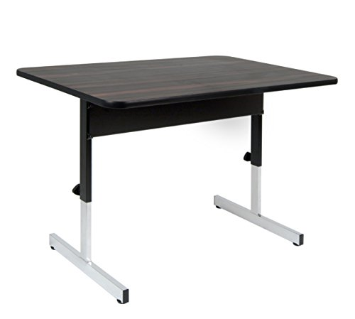 Calico Designs Adapta Height Adjustable Office Desk, All-Purpose Utility Table, Sit to Stand up Desk Home Computer Desk, 22' - 32' in Powder Coated Black Frame and 1' Thick Walnut Top, 48 Inch