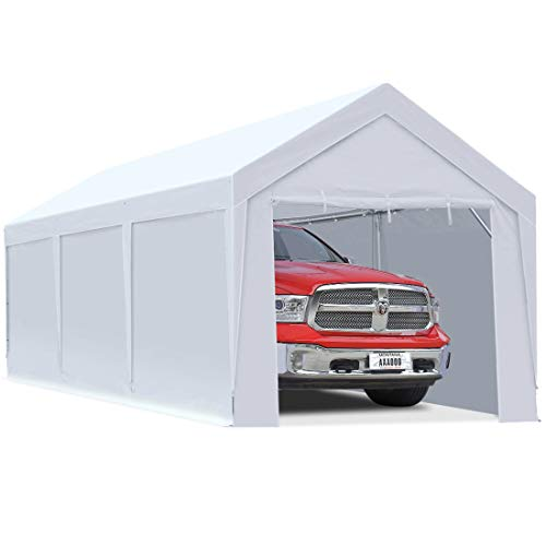 10 x 20 ft Upgraded Heavy Duty Carport Car Canopy with Removable Sidewalls, Portable Garage Tent Boat Shelter with Reinforced Triangular Beams and 4 Weight Bags