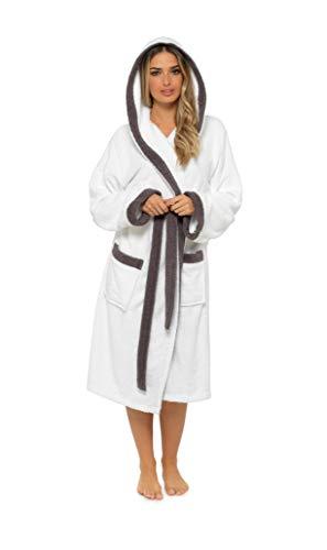 CityComfort Albornoz Mujer Baño, Ropa Mujer 100% Algodon, Bata de Casa Mujer con Capucha Suave y Absorbente, Regalos para Mujer y Chica Adolescente Talla S - XL (S, Gris y Blanco)