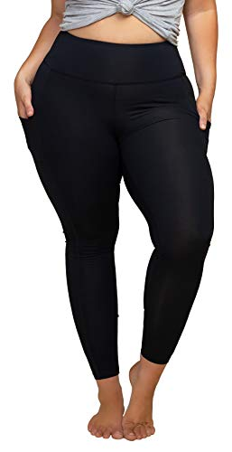 Women's Plus Size High Waist 7/8 Compression Workout Leggings with
