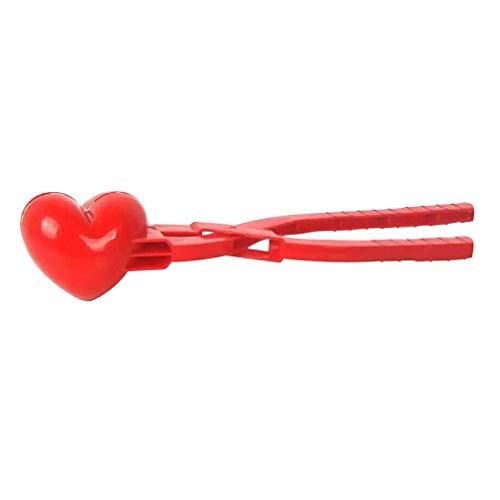 JIE Heart Love Snowball Maker Invierno Plástico Snowball Maker Clip Juguetes para niños Red Single Heart