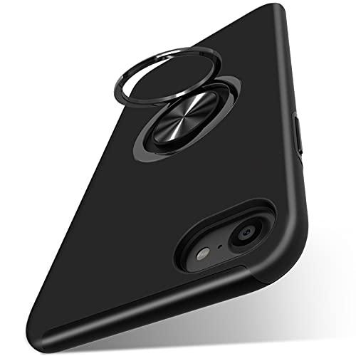 Duluqboba iPhone SE ケース 第二世代 iPhone8 ケース iPhone7 ケース リング付き 耐衝撃 クリア 薄型スマホカバー スタンド機能 車載ホルダー対応 全面保護 米軍MIL規格 二層構造 レンズ保護 アイフォン8/7 ケース 滑り防止 指紋防止 おしゃれ 人気 一体型 携帯カバー 黒 AYS-18-1