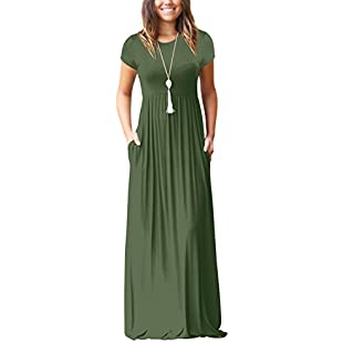 Casual Maxi Dress for Ladies High Waist Loose Long Dresses with Pockets Army Green S:Carsblog