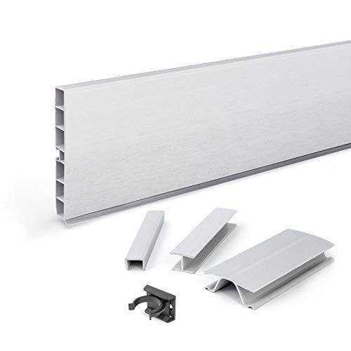 DQ-PP Sockelleiste 10,5m | Sockelblende | 100mm | Aluminium Satin | Kunststoff | Sockel | Sockelleisten | Sockelprofil | Küchensockel | Kuechensockelleiste für Einbaukueche
