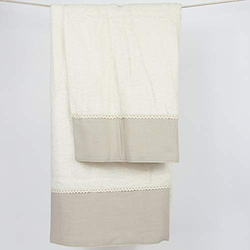 R.P. Set Asciugamani da Bagno in Spugna Blanche Avorio con Balza 100% Cotone, Asciugamano cm 60x110, Ospite Bidet cm 40x60, Peso 480 gr