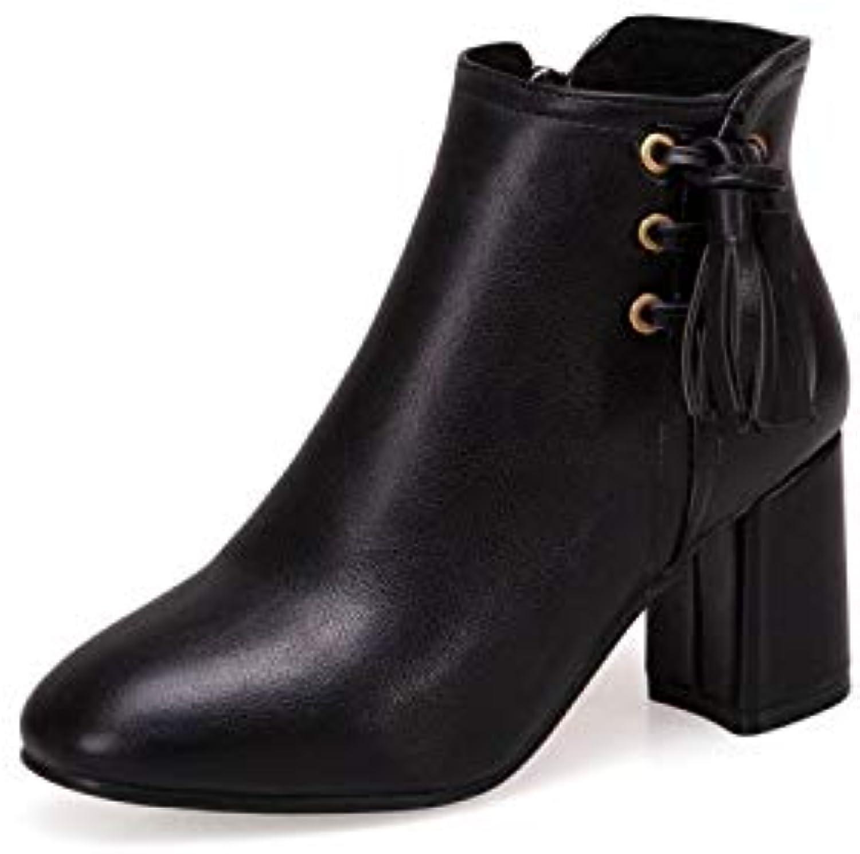HRCxue Pumps Stiefel dick dick dick mit hohem Absatztemperament Martin Stiefel weiblich Kurze Stiefel wild, schwarz, 35 c7e