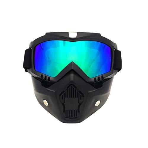 Motorradbrille mit Maske Abnehmbarer, Beschlagfreie Winddichte Motorradbrille Skischutzbrille, Mundfilter, Rutschfester Riemen Verstellbar, Unterstützung für das Bringen von Kurzsichtigkeitsbrillen
