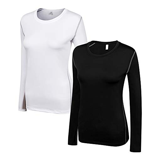 WANAYOU Women 2 Pack Performance Compression Base Layer Long Sleeve Crew Neck Tops Tee T Shirts (XL(US8), 2 Pack(Black+White))