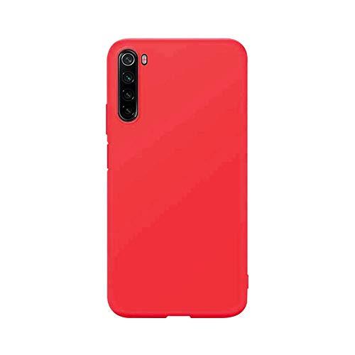 cuzz Funda para Xiaomi Redmi Note 8+{Protector de Pantalla de Vidrio Templado} Carcasa Silicona Suave Gel Rasguño y Resistente Teléfono Móvil Cover-Rojo