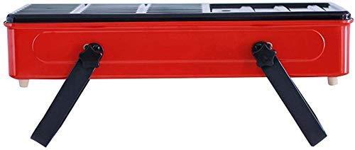 Barbacoa al aire libre para fiesta familiar, carbón de leña plegable de escritorio, parrilla de barbacoa ajustable (color: blanco) BJY969 (color: rojo)