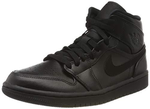 Nike Herren AIR Jordan 1 MID Basketballschuhe, Schwarz (Black/Black/Black 090), 46 EU