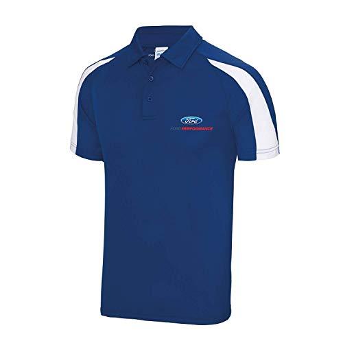 Ford Performance Racing Cool Performance Polyester Herren Poloshirt (XL, Royal/White)