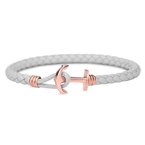 PAUL HEWITT Bracelet Femme PHREP Lite - Cadeau Femme, Bracelet Cuir Femme (Gris) avec Fermoir Ancre en INOX plaqué Or (Or Rose)