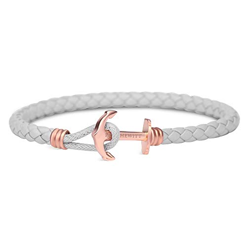 PAUL HEWITT Anker Armband Damen PHREP Lite - Leder Armband Frauen (Grau), Armband Damen mit Anker Schmuck aus IP-Edelstahl (Rosegold)