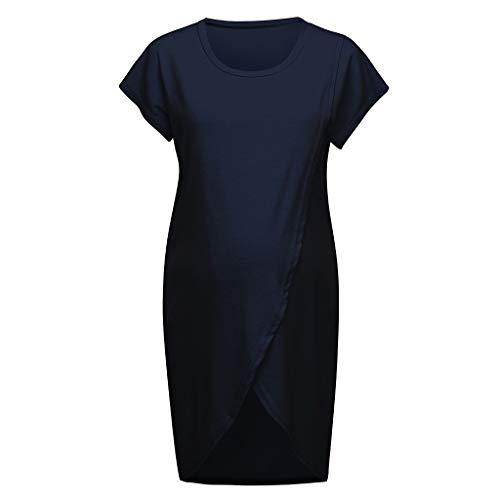 Cerlemi Damen Geburtskleid Krankenhaus Umstands Nachthemd Stillfunktion Umstandskleid Spitzenkleid Frauen Schwangerschafts Kleid V-Ausschnitt Mutterschafts Kleid