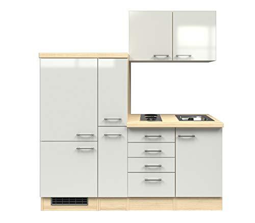 MMR Singleküche DERRY - Küche mit E-Geräten - 2er Elektro-Kochfeld - 9-teilig - Breite 190 cm - Perlmutt Weiß