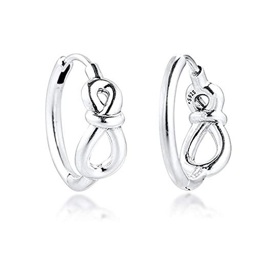 Gflyme Pendiente de aro con nudo infinito para mujer, plata 925, ideal para pulseras Pandora originales