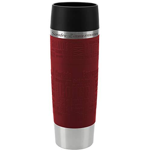 *Emsa Thermobecher Travel Mug Grande Rot 500 ml mit persönlicher Rund-Gravur gelasert Edelstahl Soft-Touch-Manschette Quick Express Verschluss*