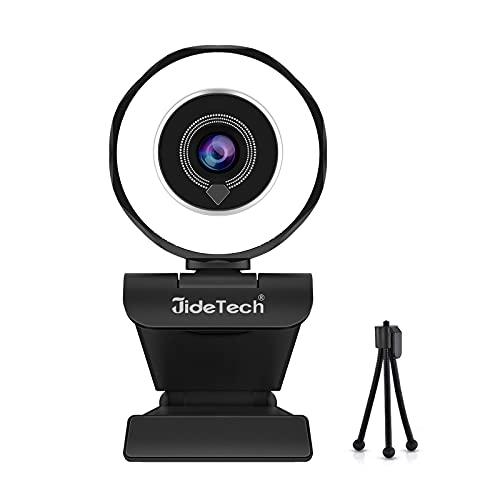 JideTech Webcam con micrófono, 2K FHD, 30 fps, USB, con luz de anillo y trípode para Twitch, YouTube, Xbox, XSplit, Mixe, Facebook, OBS, Vlogging, etc.