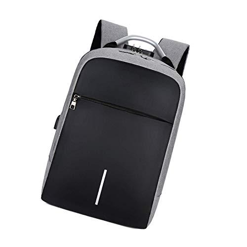 Mochila de viaje de negocios unisex para ordenador portátil con auriculares USB College poliéster gris