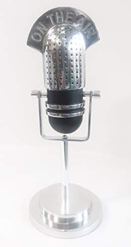 F&G Supplies Micrófono clásico 'On-Air' vintage para estante o escritorio de aluminio pulido –...