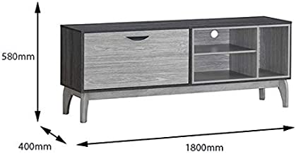 Maison Concept Montero TV Cabinet Drawers - Grey and Black, 1800 x 400 x 580 mm