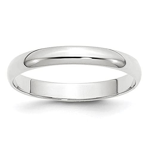 Diamond2Deal Anillo de boda de oro blanco de 14 quilates, 3 mm, LTW, medio redondo, para mujer
