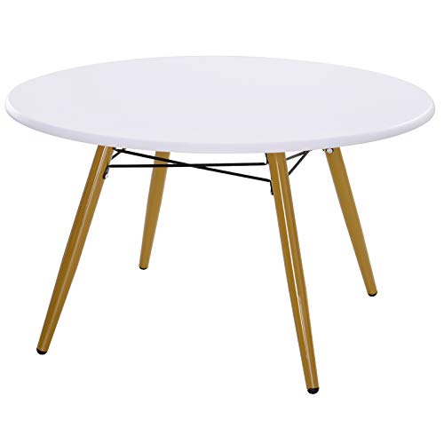 HOMCOM Modern Round Coffee Tea Table White Side End Living Room Storage Unit With Metal Legs Scandinavian Chic