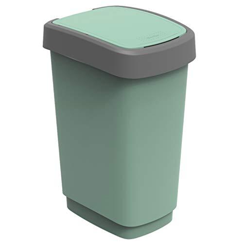 Rotho Eco Twist vuilnisbak 25 l, kunststof (PP), groen, 25 liter (33,3 x 25,2 x 47,6 cm)
