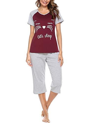 iClosam Pyjama Femme Ete 2 Pièces, Pyjama Femmes Chat T-Shirt Manche Courte et Pantalon 3/4 Ensemble de Pyjama Femme en Coton Rouge L