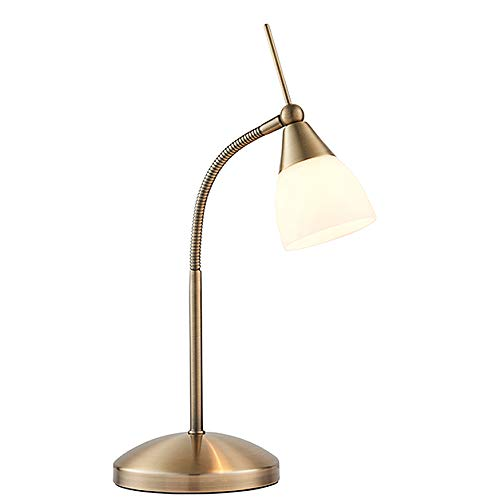 Endon Range Modern Antique Brass Touch Dimmer Bedside Table Lamp with Opal Glass Cylinder Light Shade - Gooseneck Dimmable Touch Sensitive Control Reading Lamp for Office, Home, Study, Work