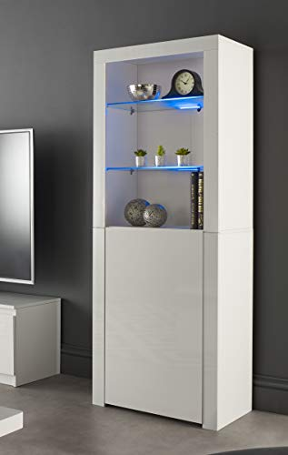 MMT Furniture Designs Ltd - Credenza moderna per buffet, con luci a LED, colore: bianco opaco/lucido, bianco, large