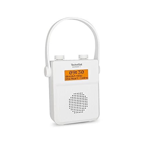 TechniSat DIGITRADIO 30 - wasserdichtes DAB+ Duschradio (UKW, DAB Digitalradio, integrierter Akku, Bluetooth, wasserdicht nach IPX5, Wecker, Favoritenspeicher, Kopfhörer-Anschluss) weiß