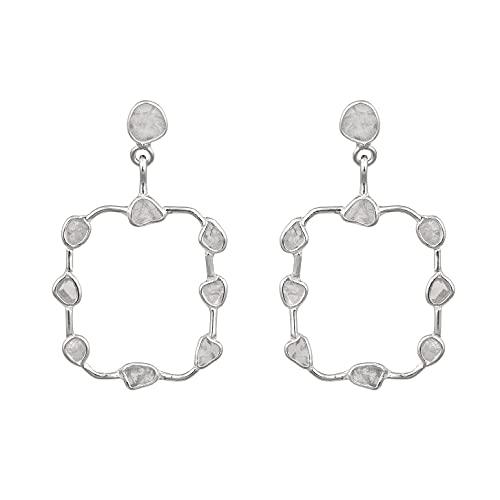1.00 CTW natural uncut diamond polki Open Square Shape earrings Geometric dangle earrings - 925 sterling silver paltinum plated