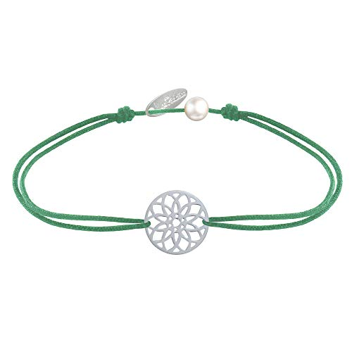 Joyas Les Poulettes - Pulsera de Enlace Medalla de Plata Mandala Semilla de Vida - Verde