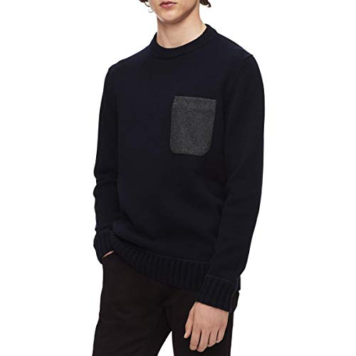 Calvin Klein Mens Mixed Media Long Sleeves Sweater Navy XL