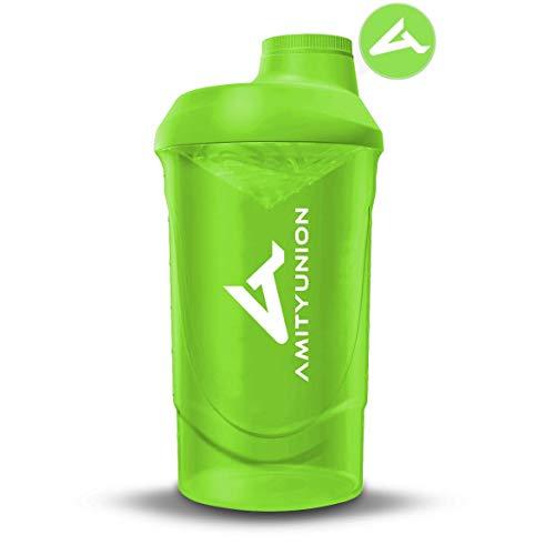 AMITYUNION Protein Shaker Grün Deluxe 800 ml - Eiweiß Shaker auslaufsicher - BPA frei mit Sieb & Skala für Cremige Whey Proteinpulver Shakes - Gym Fitness Becher für Isolate und Sport Konzentrate