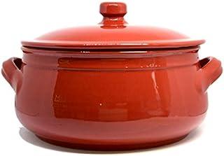 Colì, Tegame in Terracotta con Coperchio, Tegame Artigianale, Rosso, Diametro 24 cm