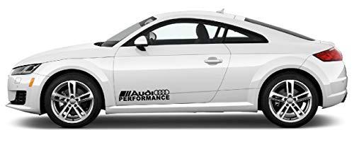 Racing Performance Seitendekor Aufkleber (2x 60cm) kompatibel mit Audi Auto Heckscheibe Tuning / Plus Schlüsselringanhänger aus Kokosnuss-Schale / Racing Hoonigan A1 A3 A5 A6 TT Q3 Q5 Quattro S Line