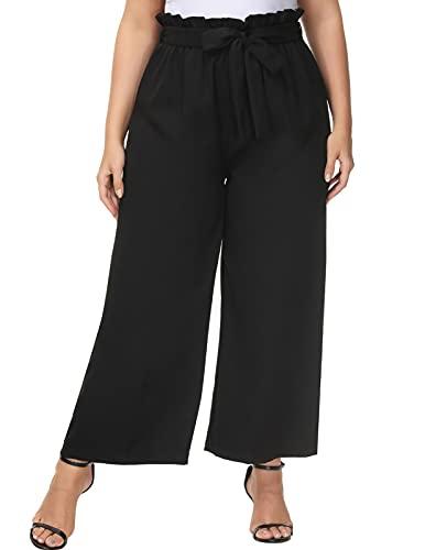 Hanna Nikole Women's Plus Size Cropped Paper Bag Ruffed Waist Wide Leg Palazzo Pants 16W Black