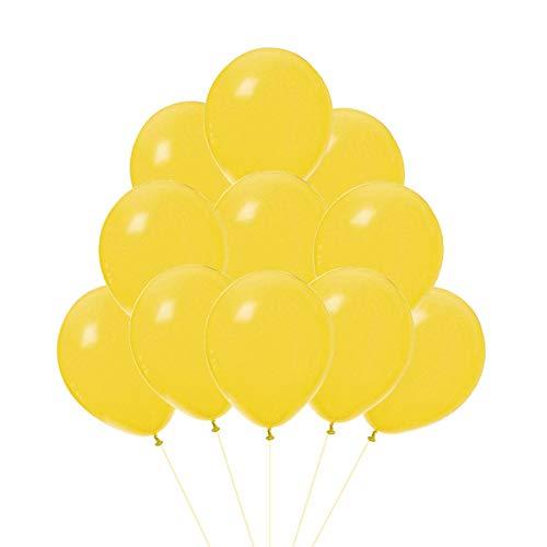 VAIOUS 100 Globos de Látex Elástico,25 cm,8 Pulgadas,Color Liso-Amarillo