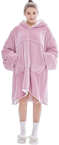 Magnesis Wearable Blanket Hoodie Oversized Sherpa Blanket Sweatshirt with Hood Pocket and Sleeves Super Soft Warm Comfy Plush Hooded Blanket for Adult Women Men One Size Fits All Pink