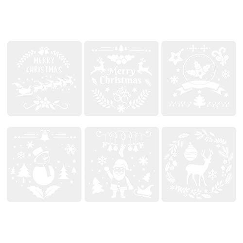 TOYANDONA 6Pcs Plantilla de Plantillas de Navidad Feliz Navidad Santa Elk Plantillas de Dibujo Pintura Reutilizable Plantilla Hueca para Diario Regalo Álbum de Recortes Proyectos de