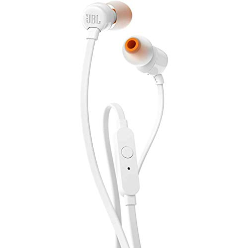 JBL Tune 110 – In-Ear Kopfhörer mit verwicklungsfreiem Flachbandkabel und Mikrofon in Weiß – Für grenzenlosen Musikgenuss mit der Pure Bass Sound Technologie