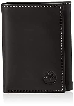 Timberland Men s Leather Trifold Wallet with ID Window Black  Hunter  One Size