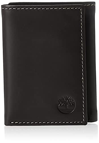 Timberland Men's Leather Trifold Wallet with ID Window, Black (Hunter), One Size