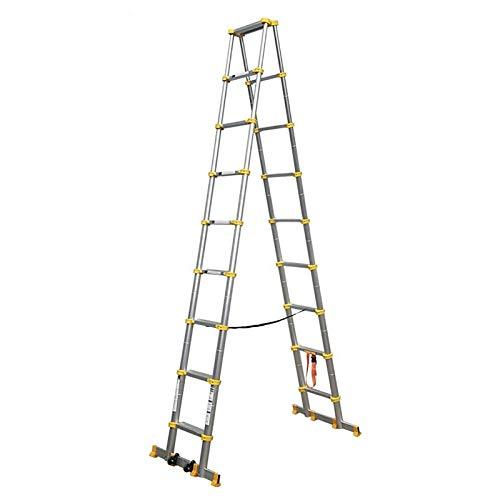 ERLAN Escalera Telescópica Amarillo Escalera Retráctil con Barra Estabilizadora/Ruedas, Escaleras Telescópicas de Aluminio de Alta Resistencia para Loft Tejados Fábrica, Paso de 7cm de Ancho
